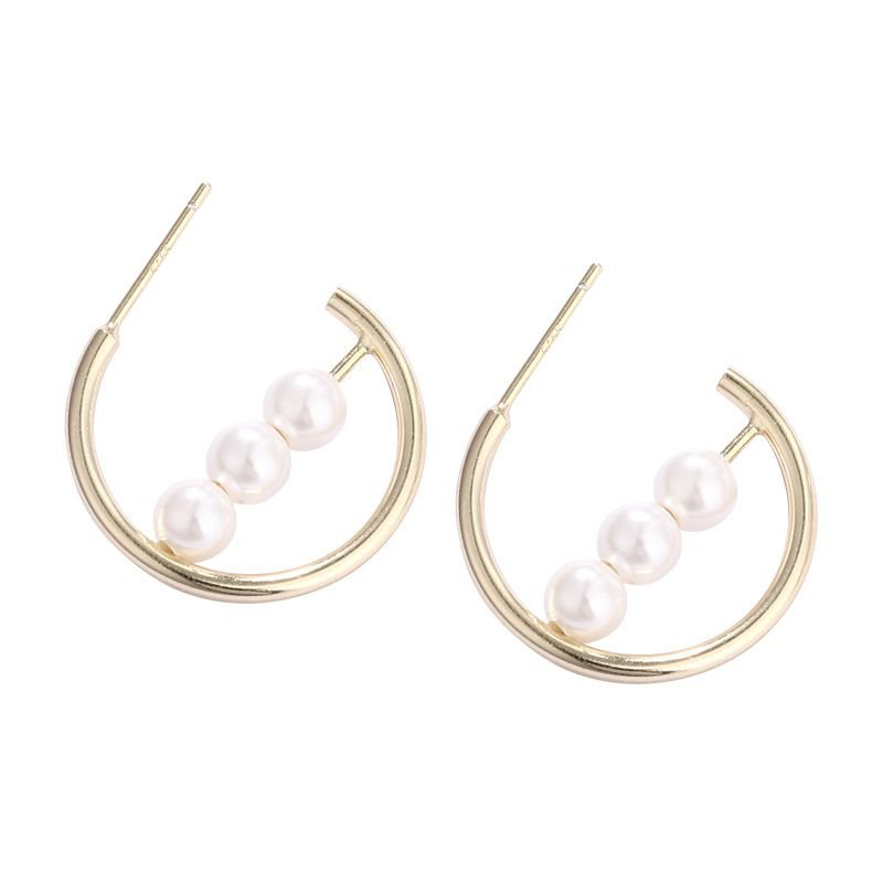 Shell Pearl Circle Ring 925 Silver Hoop Earrings