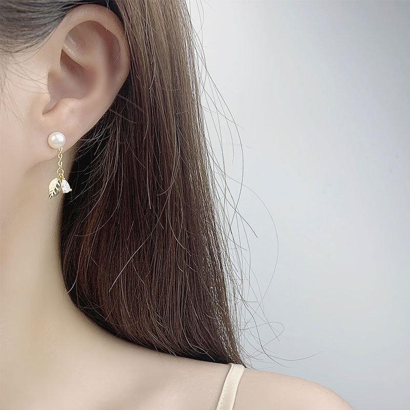Honey Moon Natural Pearl Leaves 925 Silver Dangling Earrings