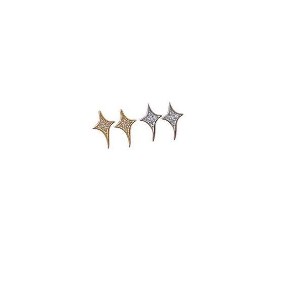 Casual Cubic Zirconia Cross Star 925 Sterling Silver Stud Earrings