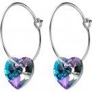 Fashion Blue Fading Cubic Zirconia Heart 925 Sterling Silver Hoop Earrings