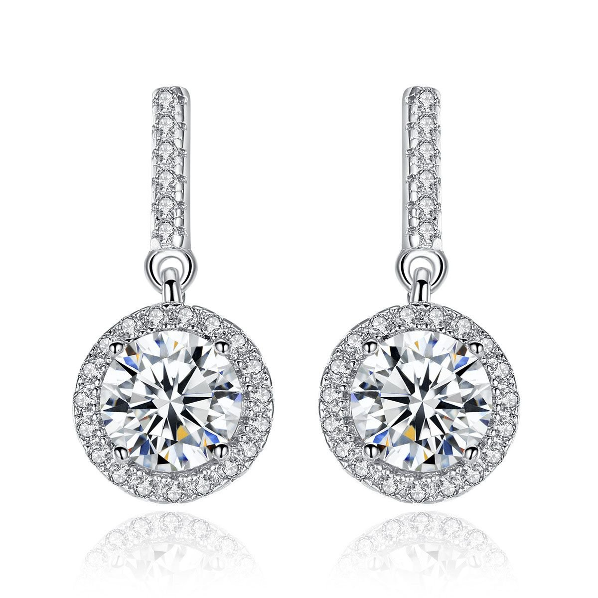 Round Cubic Zirconia 925 Sterling Silver Dangling Earrings