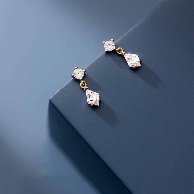 Geometry CZ Rhombus 25 Sterling Silver Dangling Earrings