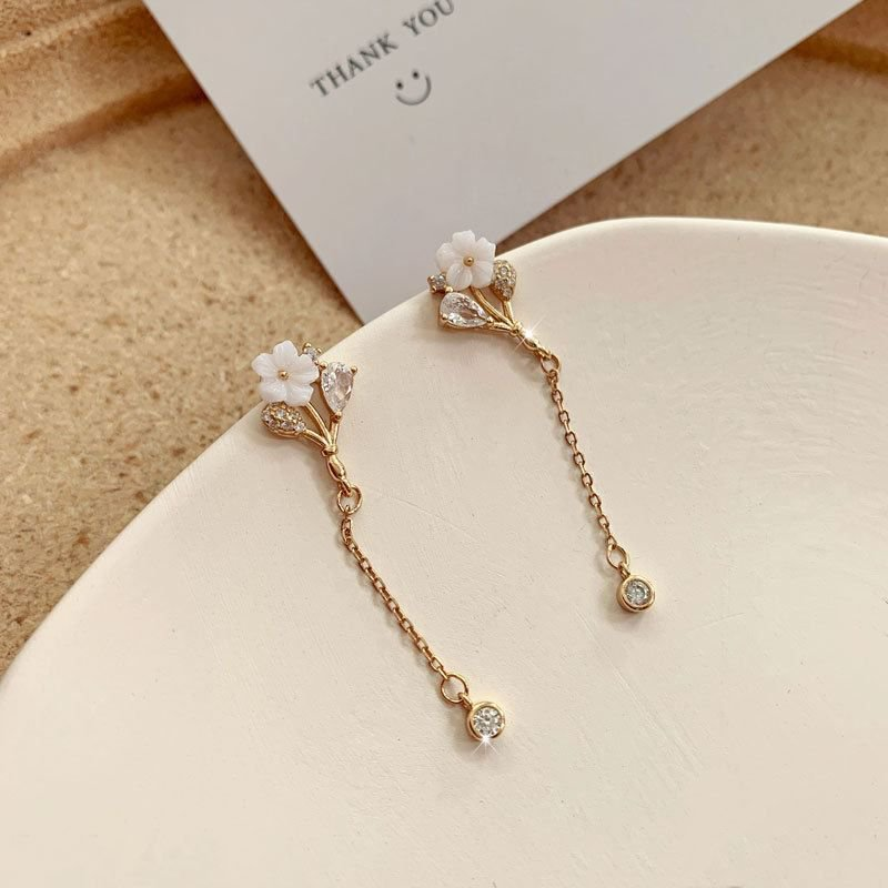 Beautiful Shell Flowers Tassels 925 Sterling Silver Dangling Earrings