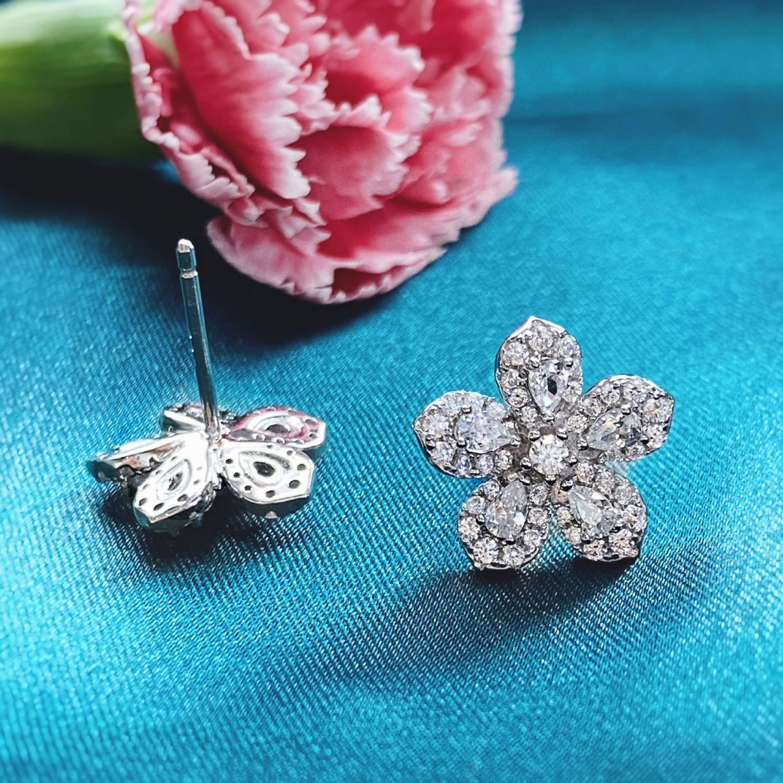 CZ Peach Blossom Flower 925 Sterling Silver Stud Earrings