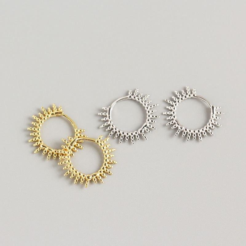 Beads Sun Circle 925 Sterling Silver Hoop Earrings