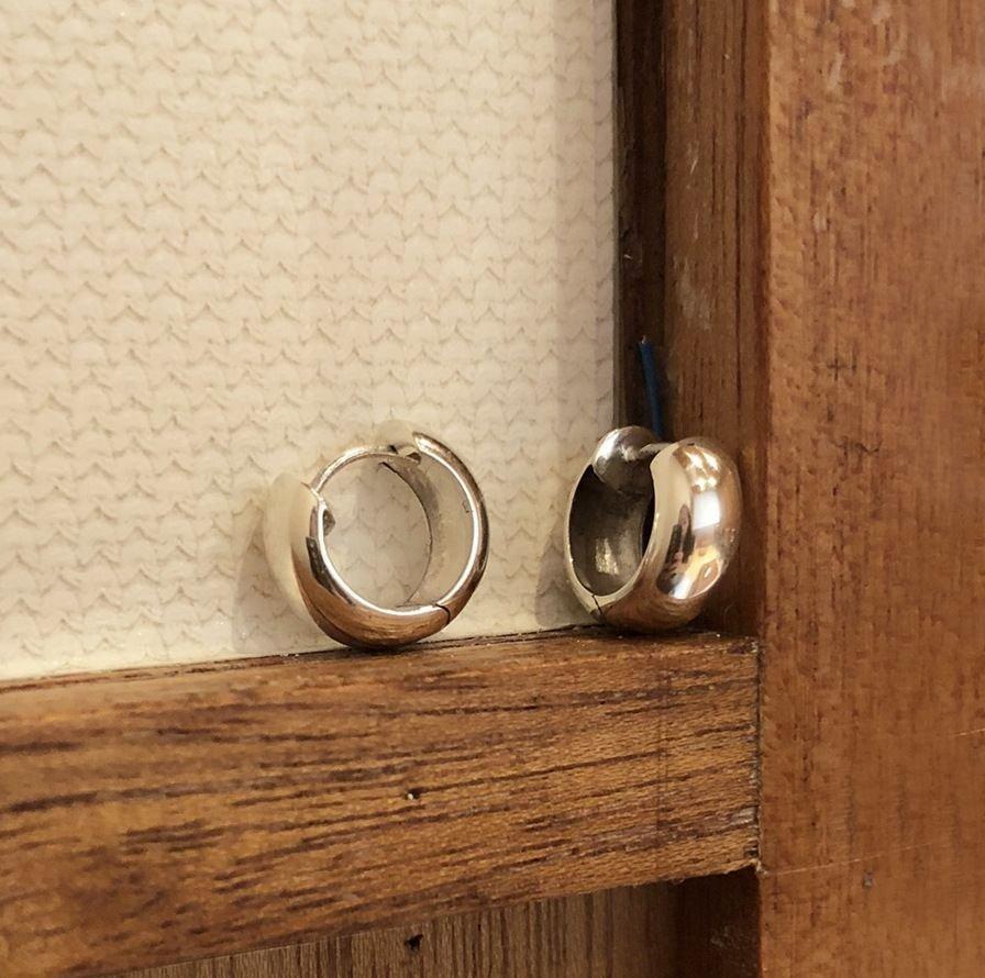 Geometric Round Hoop 925 Sterling Silver Earrings