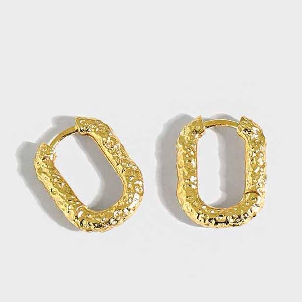 Geometry Hollow Oval 925 Sterling Silver Hoop Earrings