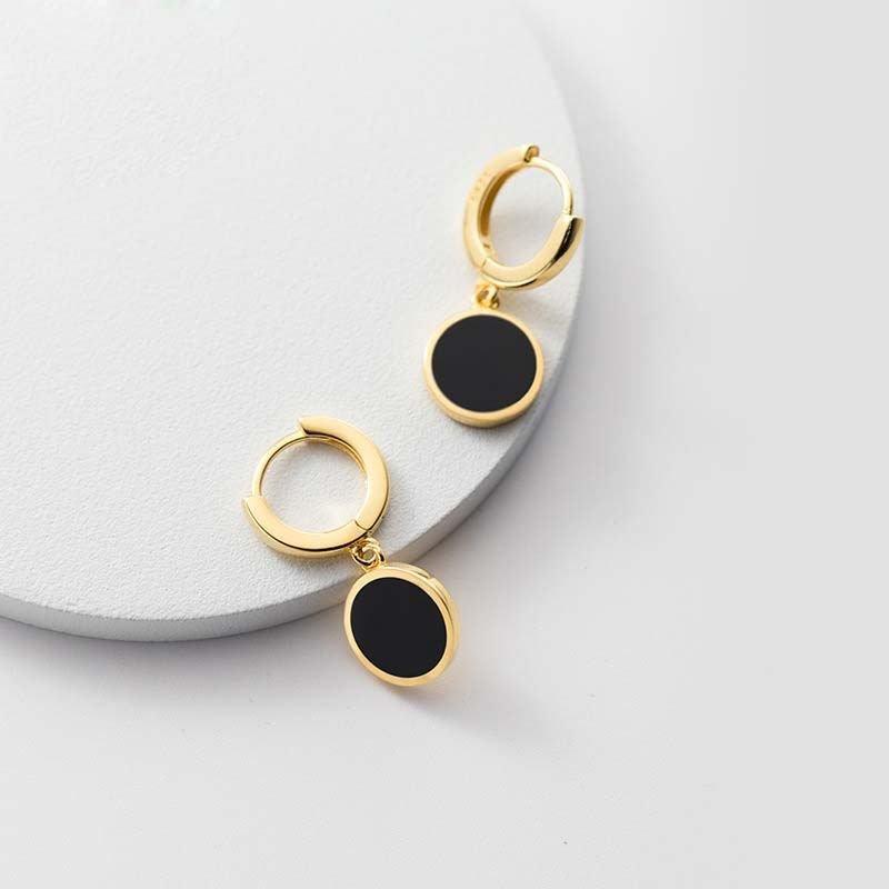 Black Round 925 Sterling Silver Hoop Earrings
