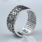 The Heart of Prajna Paramita 925 Silver Adjustable Ring