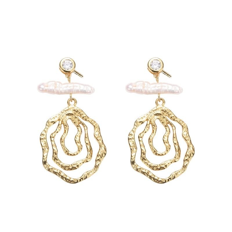 Natural Pearl Geometry Cubic Zirconia 925 Silver Dangling Earrings