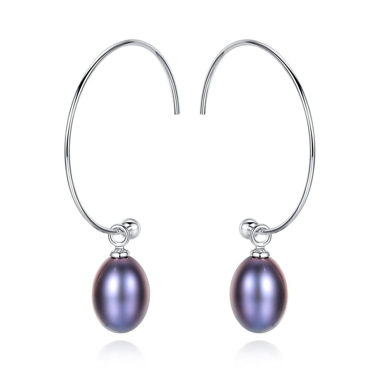 Natural Pearl 925 Sterling Silver Hoop Earrings