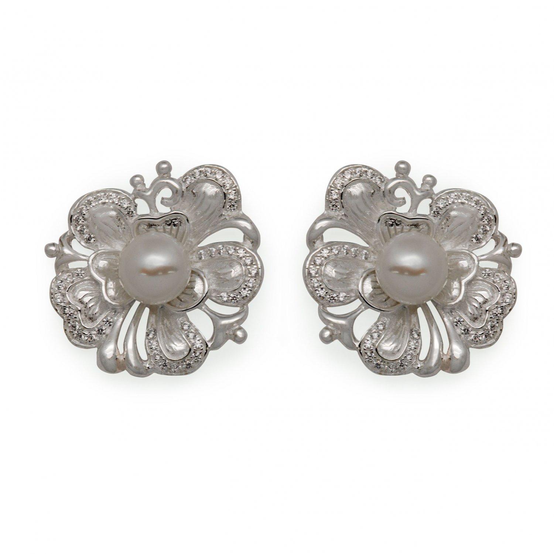 Vogue Peony Flower 925 Silver Natural Pearl Stud Earrings