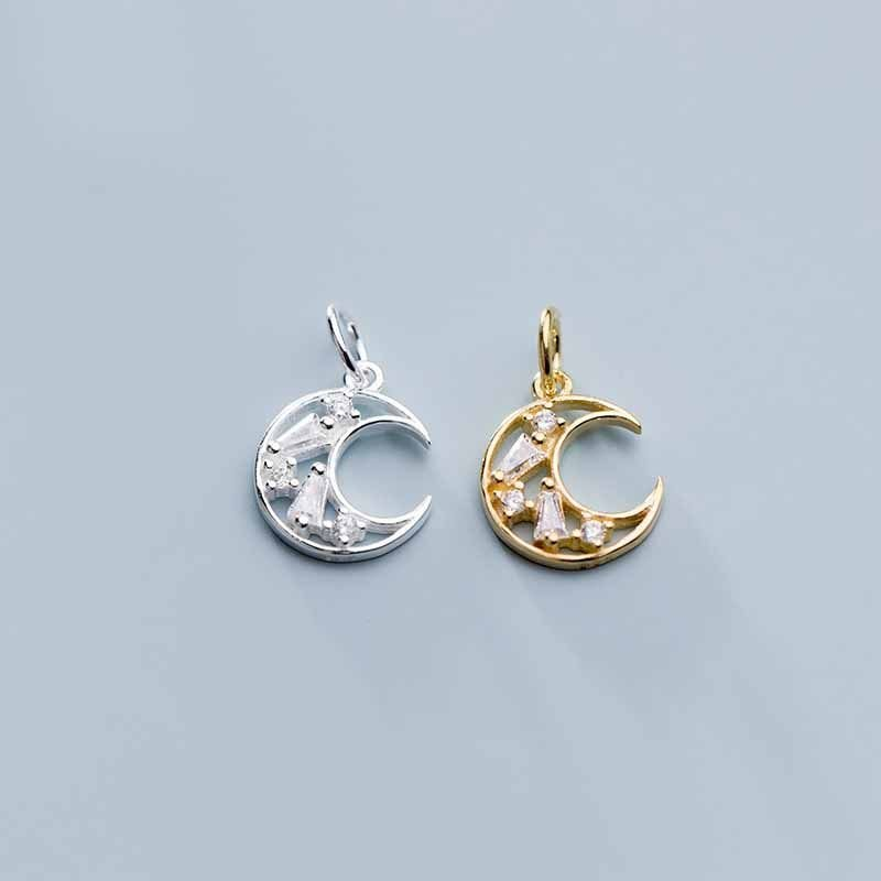 CZ Crescent Moon 925 Sterling Silver DIY Charms