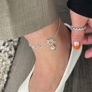 Casual Irregular Hollow Chain Heart 925 Sterling Silver Anklet