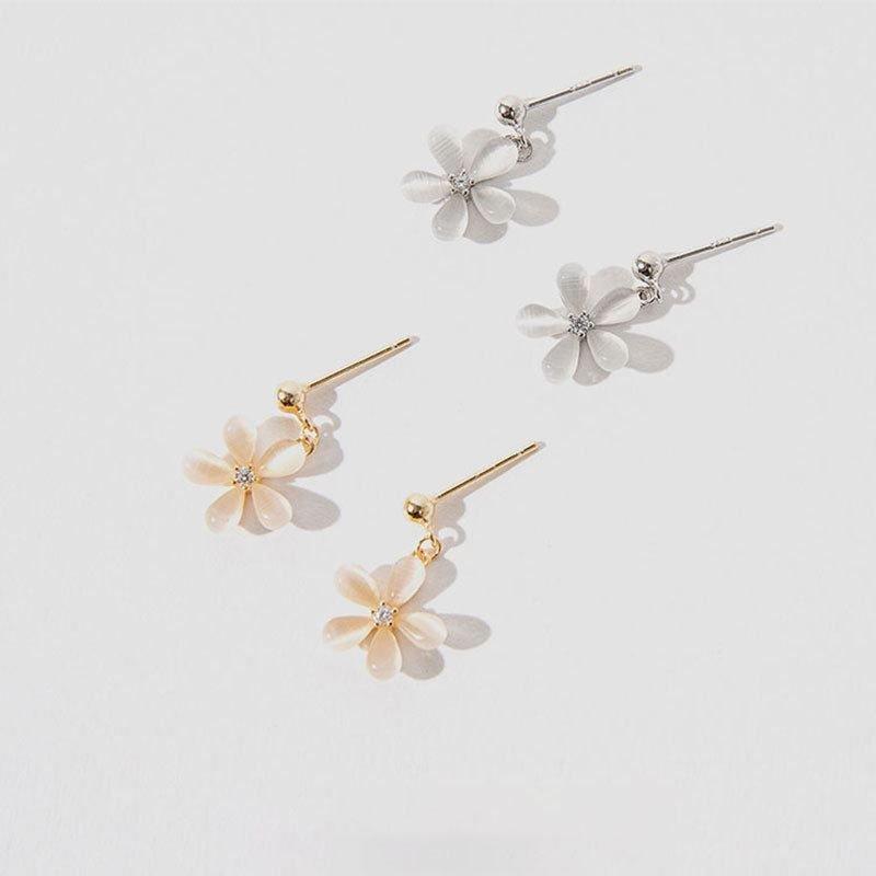 Created Cats Eye Daisy Flowers CZ 925 Sterling Silver Dangling Earrings