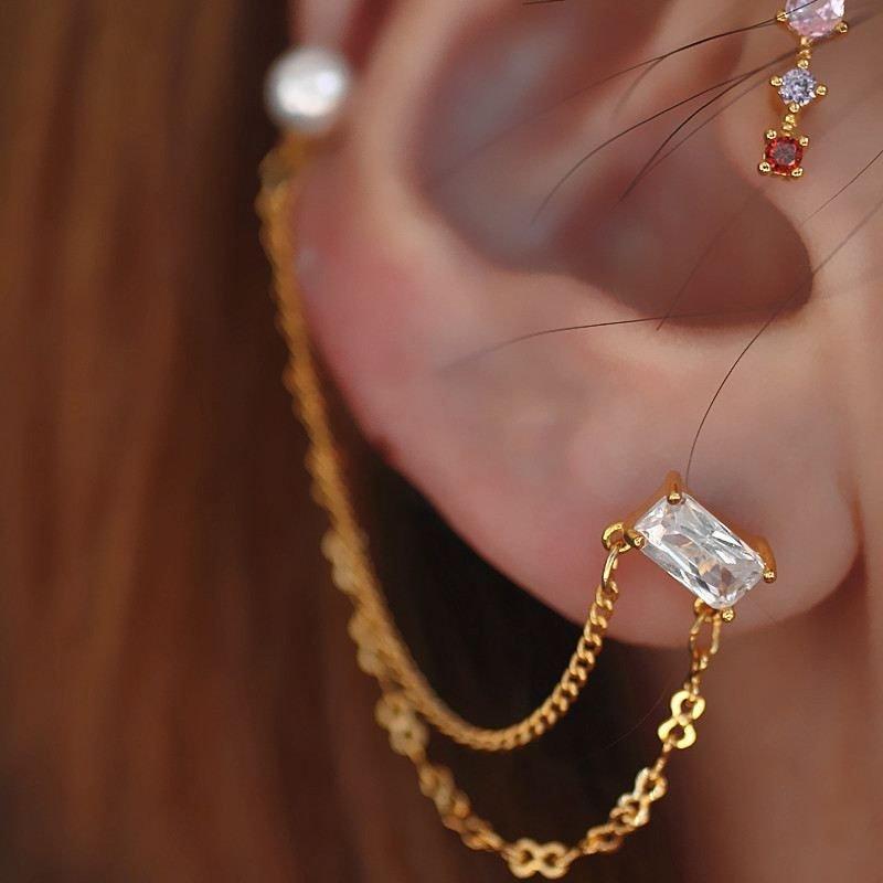 Shell Pearls Double Hole Chain CZ 925 Sterling Silver Dangling Earrings