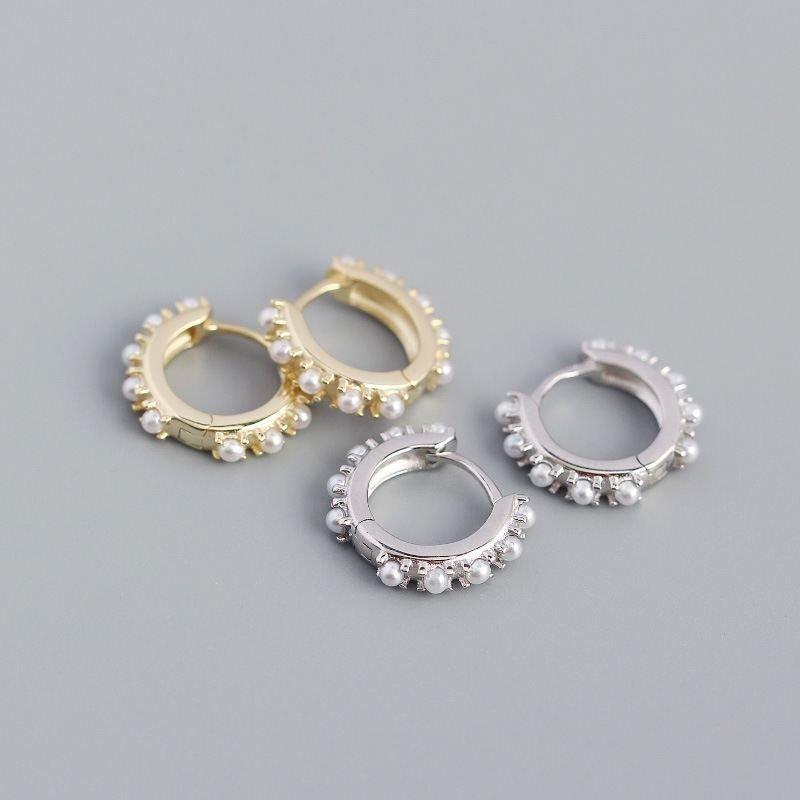 Office Mini Shell Pearls 925 Sterling Silver Hoop Earrings
