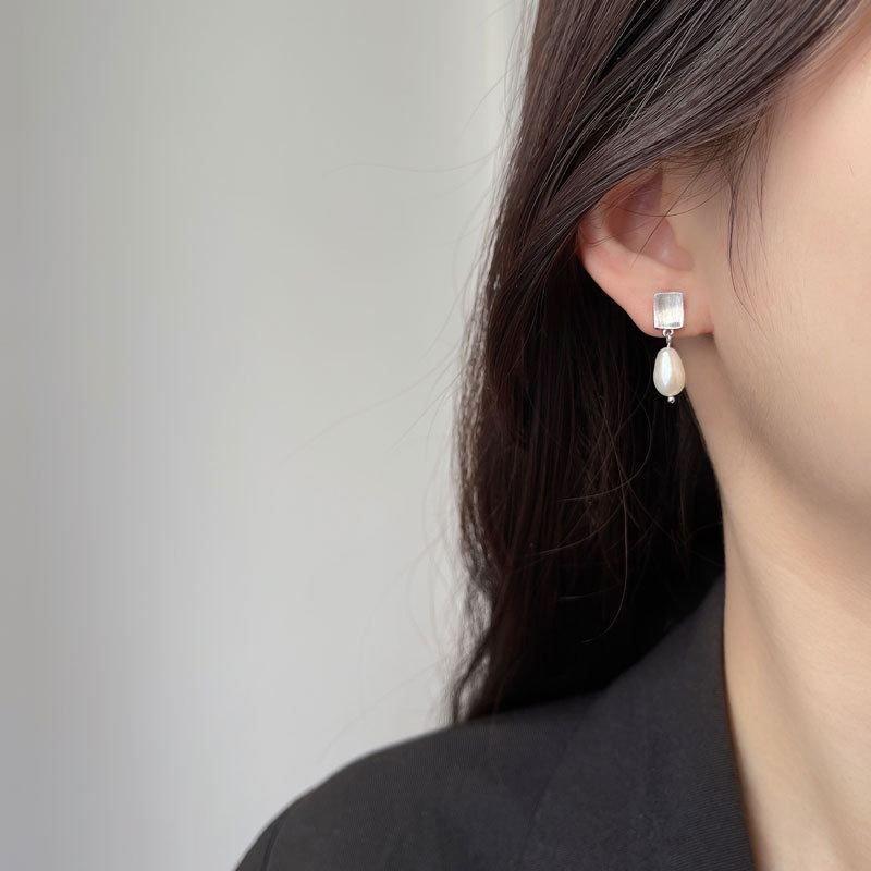 Rectangle Oval Freshwater Pearl 925 Sterling Silver Dangling Earrings