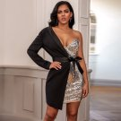 One Shoulder Long Sleeve Sequined Mini Bodycon Dress