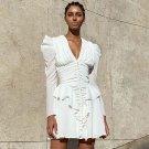 V Neck Long Sleeve Frill Mini Bodycon Dress