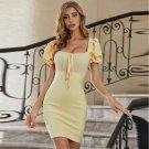 Square Collar Short Sleeve Tie Mini Bandage Dress