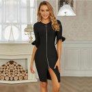 Round Neck Mid Sleeve Frill Midi Bandage Dress