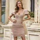 Square Collar Short Sleeve Wrinkled Mini Bandage Dress