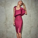 Square Collar Short Sleeve Frill Midi Bandage Dress