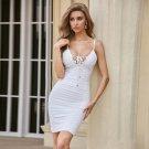 Strappy Sleeveless Wrinkled Mini Bandage Dress
