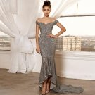 Off Shoulder Short Sleeve Sequined Maxi Bodycon Dress
