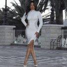 Round Neck Long Sleeve Rhinestone Mini Bandage Dress