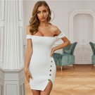 Off Shoulder Short Sleeve Striped Mini Bandage Dress