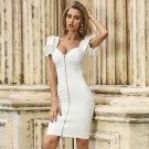 Square Collar Short Sleeve Frill Mini Bandage Dress