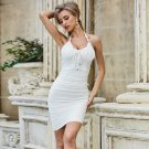 Halter Sleeveless Wrinkled Mini Bandage Dress