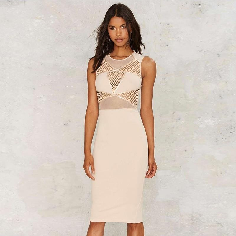 Round Neck Sleeveless Lace Mini Bandage Dress