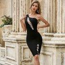 One Shoulder Sleeveless Asymmetrical Midi Bandage Dress