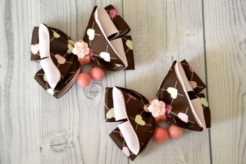 Set of 2 items - American kanzashi bows for girls.