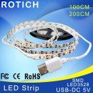 LED strip 1 m 2 m usb ha condotto la luce di striscia 5 v 3528 smd rgb cald