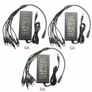 4A 5A 6A Power Supply Adapter With 8 Split Cable For CCTV Security Camera D