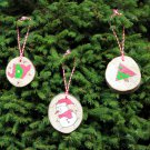 Set of 3 Handmade Wooden Tree Decoration | Holiday Theme Christmas Tree Decor