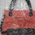 Pink And Black Leather Handbag