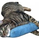 "15"" Denim Catnip Cat Kicker Stick W/Refillable Catnip Pocket / Catnip Toy for Cats (Denim)"