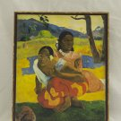 When Will You Marry? Painting by Paul Gauguin,print canvas with handmade finishes,Size 24x20x1.1 cm.