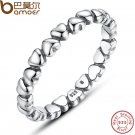 BAMOER Authentic 925 100% Solid Sterling Silver Forever Love Heart Finger R