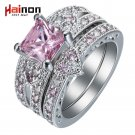 silver plated ring set heart shape black gold color ring pink blue green cz