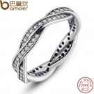 925 Sterling Silver BRAIDED PAVE SILVER RING with Clear CZ Authentic Twist