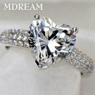 silver Color ring with 3 Carat AAA zircon for women wedding fashion heart s