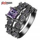 black silver plated Rings sets blue pink white purple color zircon trendy n