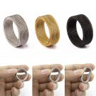 High Quality Fashion 316l Stainless Steel Rings Silver/Gold/Black Mesh Retr