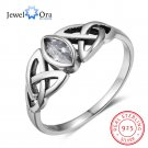 Women Solid 925 Sterling Silver Rings Flowers Pattern With Zirconia Vintage